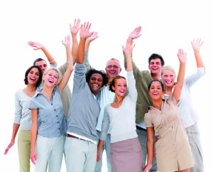 Group business people with hands up in air